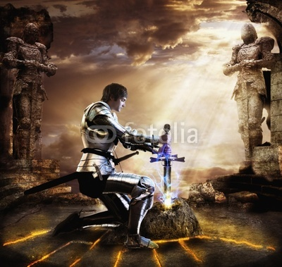 Knight pulling sword from stone